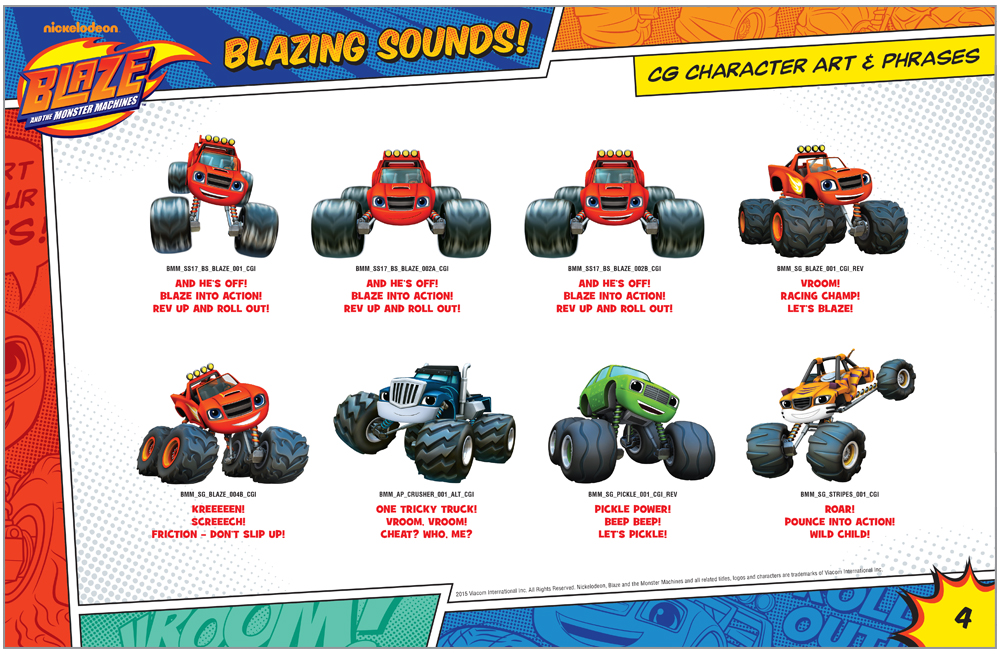Blaze and the Monster Machines Style Guide Character Illustrations