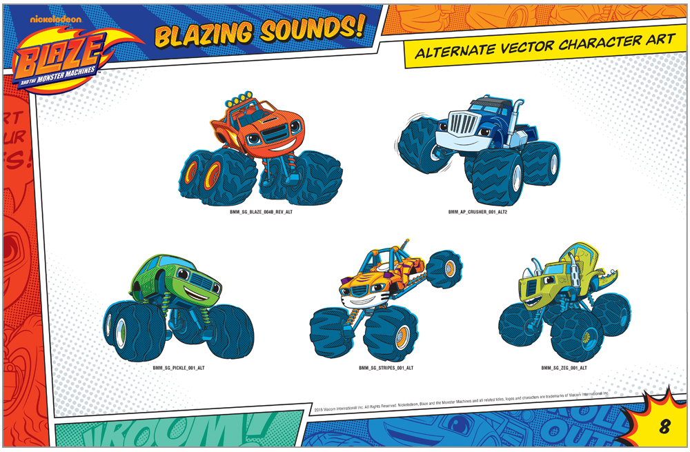 Blaze and the Monster Machines Style Guide Alternate Illustration Style