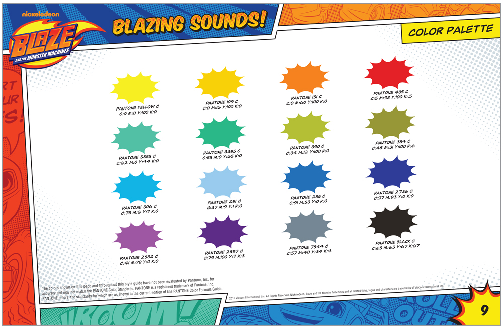 Blaze and the Monster Machines Style Guide Color Palette