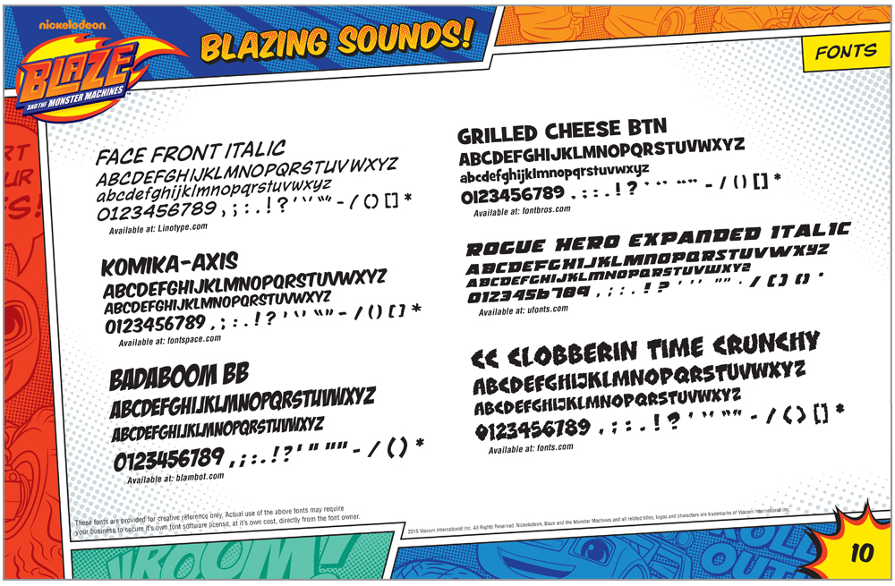 Blaze and the Monster Machines Style Guide Fonts