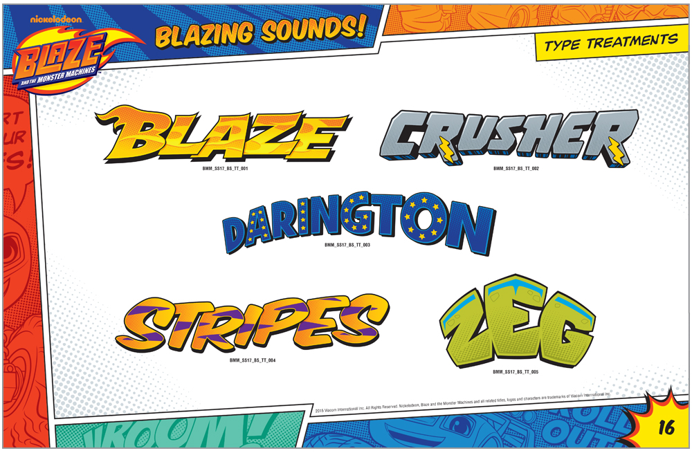 Blaze and the Monster Machines Style Guide Type Treatments